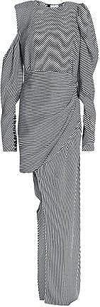 Magda Butrym Woman Sevilla Asymmetric Draped Striped Silk Dress Black Size 38 Magda Butrym