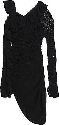 Magda Butrym Woman Asymmetric Ruffle-trimmed Crocheted Cotton Dress Black Size 36 Magda Butrym