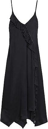 Magda Butrym Woman Asymmetric Ruffle-trimmed Crocheted Cotton Dress Black Size 38 Magda Butrym