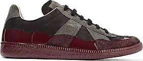 Maison Margiela Woman Paneled Metallic Coated-suede Sneakers Size 37