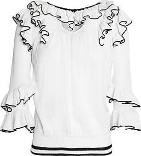 Maje Woman Ruffled Stretch-knit Sweater White Size 3 Maje