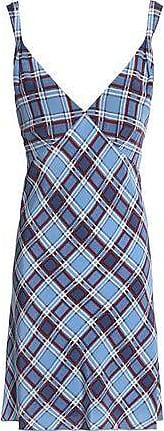 Marc Jacobs Woman Checked Silk Crepe De Chine Mini Dress Light Blue Size 0 Marc Jacobs