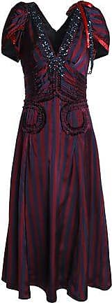 Marc Jacobs Woman Ruffle-trimmed Embellished Striped Satin Midi Dress Claret Size 2 Marc Jacobs