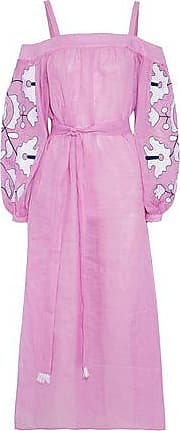 March11 Woman Cold-shoulder Belted Embroidered Linen Midi Dress Pink Size M March11