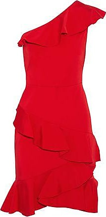 Marchesa Notte Woman One-shoulder Ruffled Satin-twill Dress Red Size 16 Marchesa
