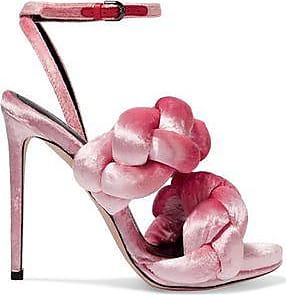 Marco De Vincenzo Woman Braided Velvet Sandals Pink Size 39 Marco De Vincenzo