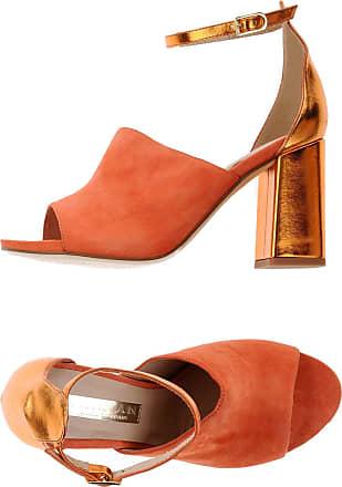 28612, Sandales Bout Ouvert Femme, Orange (Orange Nappa), 40 EUCaprice