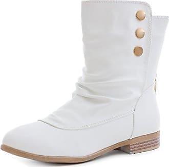SHOWHOW Damen Knöchel Stiefelette Martin Boots Kurzschaft Stiefel Weiß 40 EU