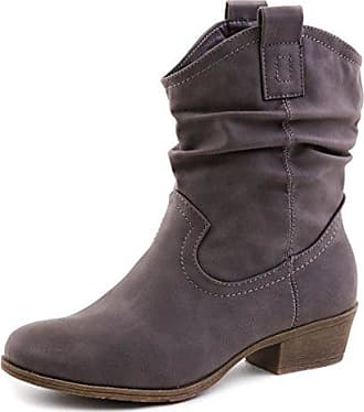 Leder-Optik Booties Grau 39