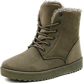 SHOWHOW Damen Gefüttert Schneestiefel Cowboys Worker Boots Grün 40 EU