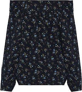 Marissa Webb Woman Off-the-shoulder Floral-print Crepe De Chine Top Midnight Blue Size M Marissa Webb