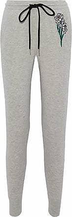 Markus Lupfer Woman Embellished Cotton Track Pants Light Gray Size S Markus Lupfer