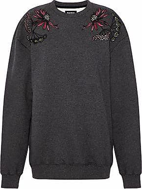 Markus Lupfer Woman Embellished Embroidered Cotton Sweater Light Gray Size XS Markus Lupfer