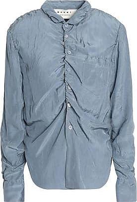 Marni Woman Ruched Crinkled-shell Shirt Yellow Size 44 Marni