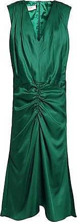 Marni Woman Ruched Satin Dress Emerald Size 42 Marni