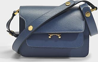 Marni Mini Sac Trunk en Cuir Saffiano Bleu Orion
