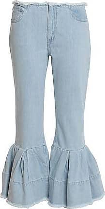 Marques Almeida Woman Frayed Pleated Low-rise Flared Jeans Mid Denim Size 6 Marques Almeida