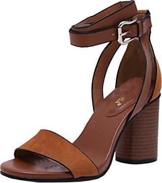 SHOWHOW Damen Peep Toe Blockabsatz Sandale Mit Schnalle Schwarz 36 EU