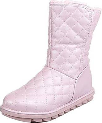 SHOWHOW Damen Süß Wasserdicht Kurzschaft Stiefel Flach Schneestiefel Pink 35 EU