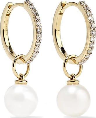 Mateo Bijoux 14-karat Gold, Diamond And Pearl Hoop Earrings