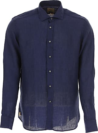 Shirt for Men On Sale, Azure, linen, 2017, 17 18 Matteucci 1939