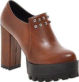 Mee Shoes Damen Reißverschluss runde Plateau runde Stiefel (35, Gelb)