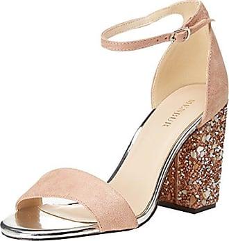Steve Madden Landen High Heel Sandal, Sandalia con Pulsera para Mujer, Plateado (Silver 10025), 40 EU