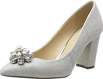 Nina Bridal - Zapatos de boda de satén mujer, color plata (silver), talla 37 EU (5 UK)