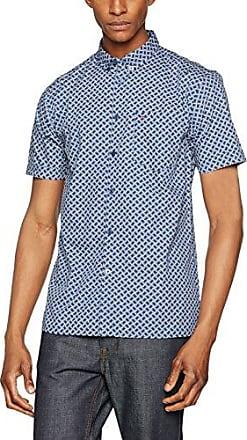Caspian, S/s Retro Geo Print Shirt, Camisa para Hombre, Azul (Cool 211), 37 Merc