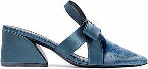 Mercedes Castillo Woman Blanche Satin-trimmed Velvet Mules Light Size 7.5
