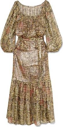 Printed Metallic Silk-blend Chiffon Maxi Dress - Sage green Mes Demoiselles...