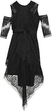 Michelle Mason Woman Cold-shoulder Lace-paneled Silk-blend Mini Dress Black Size 0 Michelle Mason