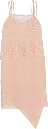 Michelle Mason Woman Layered Silk-georgette And Cotton-blend Lace Dress Pastel Pink Size 6 Michelle Mason