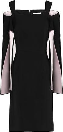 Mikael Aghal Woman Cold-shoulder Two-tone Cady Dress Black Size 6 Mikael Aghal