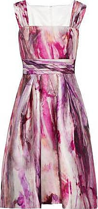 Mikael Aghal Woman Gathered Printed Satin-faille Dress Multicolor Size 0 Mikael Aghal