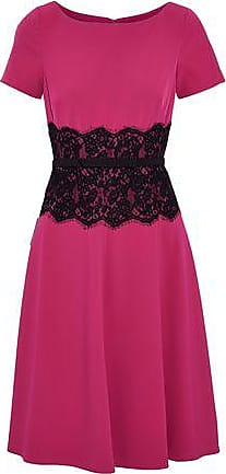 Mikael Aghal Woman Ruffled Neon Cady Halterneck Dress Bright Pink Size 6 Mikael Aghal