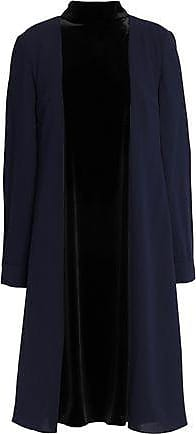 Mikael Aghal Woman Velvet-paneled Two-tone Crepe Dress Midnight Blue Size 6 Mikael Aghal