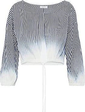 Milly Woman Chrystie Striped Dégradé Cotton-blend Poplin Top Navy Size L Milly