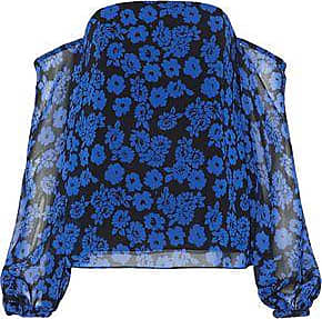 Milly Woman Gloria Off-the-shoulder Floral-print Georgette Top Cobalt Blue Size 12 Milly