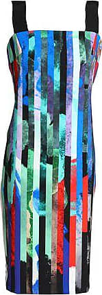 Milly Woman Grosgain-trimmed Printed Stretch-cady Dress Green Size 6 Milly