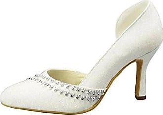 Minitoo , Damen Pumps, weiß - White-9.5cm Heel - Größe: 35.5