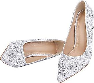 Minitoo , Damen Pumps, silber - Silver-5cm Heel - Größe: 36.5