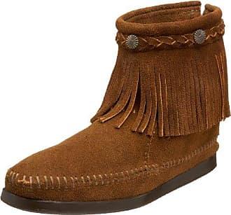 Doublefringesidezipboot, Mocassins (Loafers) Femme, Marron (White/Light Grey), 41 EUMinnetonka