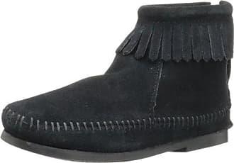 Minnetonka - 3-Layer Fringe, Botas Mocasin Niña, Negro (Black), 31/32 EU