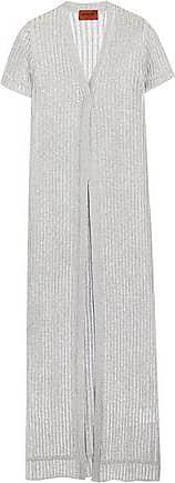Missoni Woman Metallic Ribbed-knit Cardigan Silver Size 40 Missoni