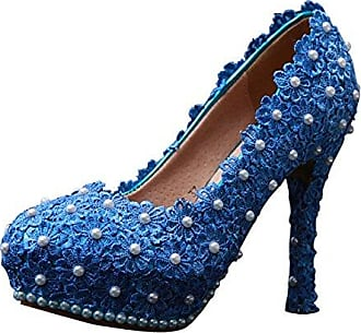 Verkauf Bestseller Damen Plateau blau Blue10cm Heel Größe 42
