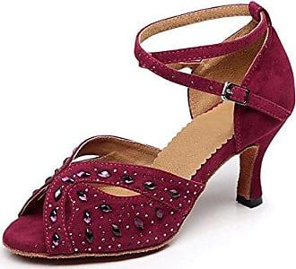 Miyoopark , Damen Tanzschuhe , Rot - Burgundy-7.5cm Heel - Größe: 40