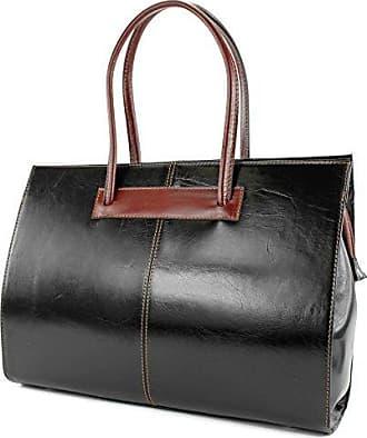 ital.Ledertasche Damentasche Handtasche Henkeltasche Aktentasche Business Groß DIN A4 DS13, Präzise Farbe:Schwarz/Braun modamoda de - Made in Italy