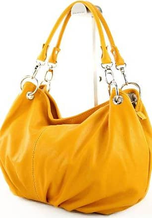 modamoda de - ital. Ledertasche Damentasche Schultertasche Umhängetasche Echtleder T154, Präzise Farbe:Gelb modamoda de - Made in Italy