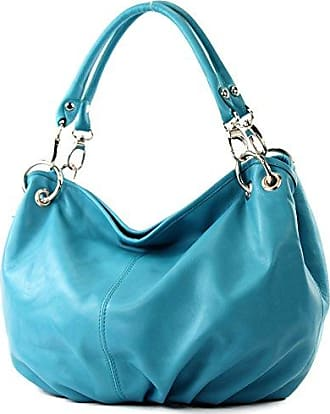 modamoda de - ital. Ledertasche Damenhandtasche Schultertasche Damentasche Nappaleder DS26, Präzise Farbe:Türkis modamoda de - Made in Italy